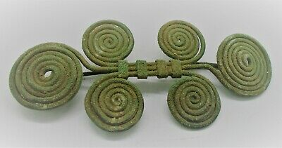 Circa 500 Bce Ancient Celtic Halstatt Spiral Spectacle Fibula