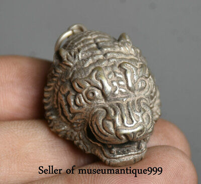 "1.6"" Old Chinese Miao Silver Feng Shui Zodiac Tiger Animal Head Amulet Pendant"
