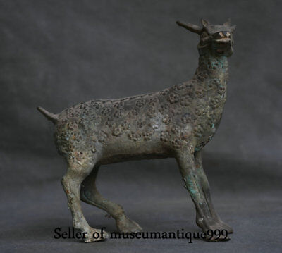 25CM Ancient Chinese Bronze Ware Dynasty sika deer Animal Statue Sculpture