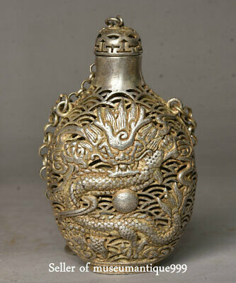 7.5CM Collect Old Chinese Miao Silver Dynasty Dragon Dragons Ball Snuff Bottle