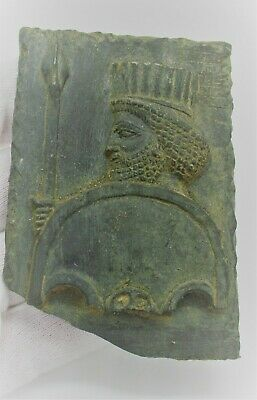 Ancient Near Eastern Black Stone Tablet With Warrior