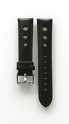 New Genuine Leather Black Band Wrist Watch Roder Strap Model Perforated 20 mm
