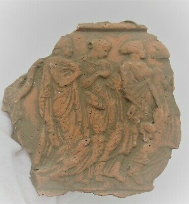 Late Byzantine Terracotta Clay Plaque Depicting Religious Scene Very Interesting