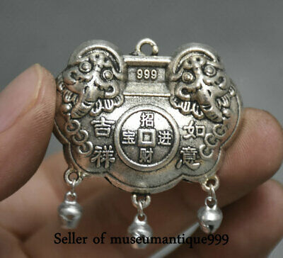 4.5CM Old China Miao Silver Dynasty 吉祥如意 Wealth Lucky Lock Amulet Pendant