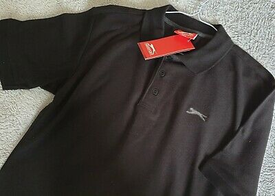Slazenger Men's Polo Shirt - Size Small - Black - Brand New With Tags