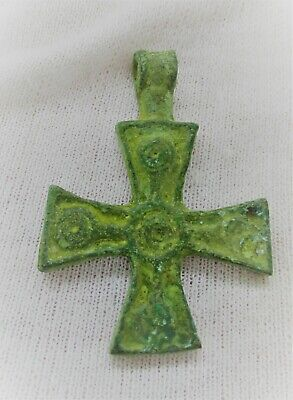 Superb Ancient Byzantine Bronze Crusaders Cross Amulet Wearable Artefact