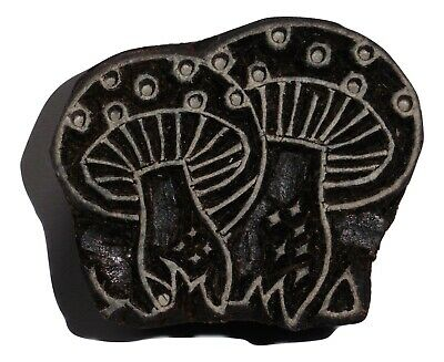 Mushroom Shaped 4.2cm x 3.5cm Indian Hand Carved Wooden Printing Block Stamp