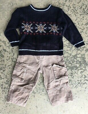Nordic outfit baby boy fair isle toddler18M 18 MO Sweater pants b.t. kids cords