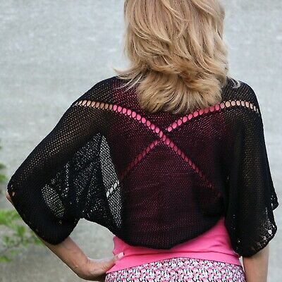 Hand knit black bolero womens summer cotton shrug handmade beach lace coverup