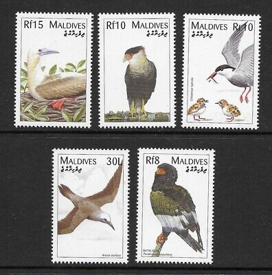 MALDIVES , the 5 BIRD issues MINT NH