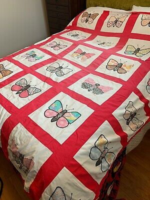 Vintage 1950S Butterfly Quilt 76x72 Handmade