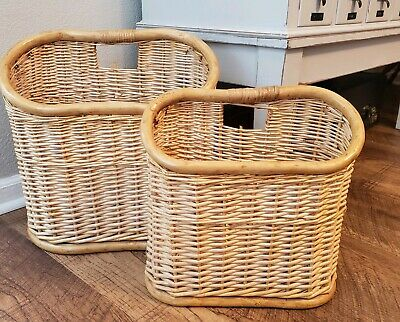 Vintage Boho Bamboo Wicker Wood Magazine Holder Rack Wall Basket Bentwood Set