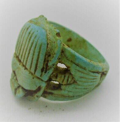 Circa 500Bce Ancient Egyptian Glazed Faience Scarab Scaraboid Ring Superb