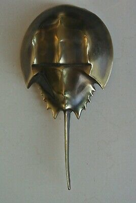 Vintage American large hand cast brass Colby Smith Horseshoe crab door knocker