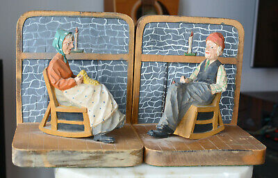 Rare Andre BOURGAULT St Jean Port Joli Bookends Pair Painted Wood Hand carved