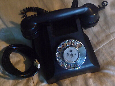 Vintage Black Bakelite Telephone With Rotary Dial for restoration / parts.