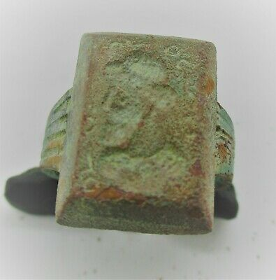 Circa 200Bce Ancient Indo-Greek Kings Of Baktria Bronze Seal Ring Superb