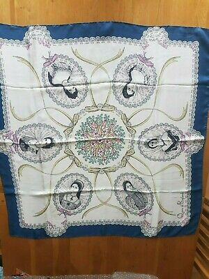 """Jacqmar Queens of England designed by Lesley King vintage silk scarf 34""""sq."""