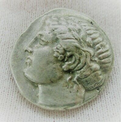 Unresearched Ancient Greek Ar Silver Tetradrachm Coin Gorgonian Anchor