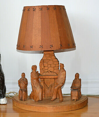 Rare Andre BOURGAULT table lamp St Jean Port Joli Wood Hand carved Dancers Scene