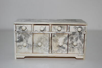 Vintage Chinese Carved/Etched Miniature Cabinet/Dresser W/Drawers