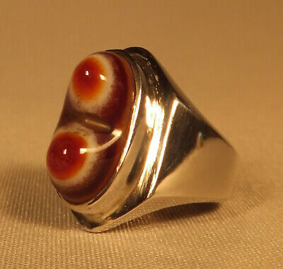 Dervish SUFI RING with magic EYE AGATE Islamic Middle Eastern Persian Silver