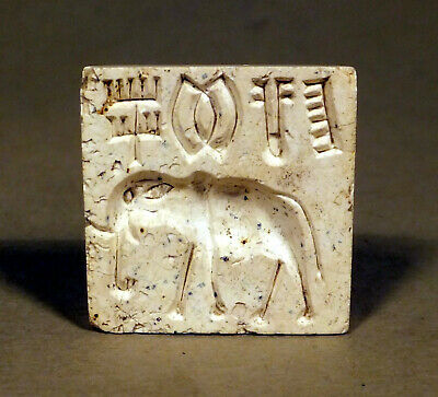 Genuine Ancient Indus Valley HARAPPAN SEAL glazed Steatite with Elephant 2550 BC