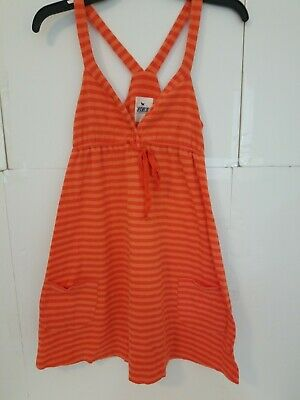 Victorias Secret Orange Stripe Tank Too Pockets PINK Cute Top Nice Small VTG