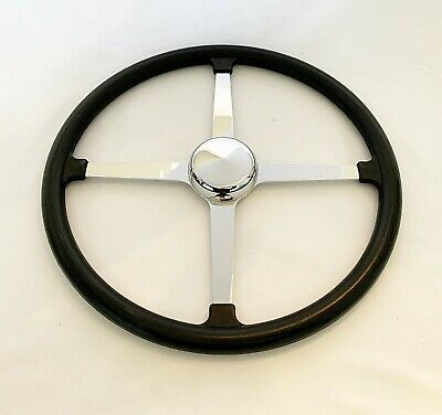 "Traditional, Vintage 4 Spoke Track Style Steering Wheel- 15""- Rubber Grip"