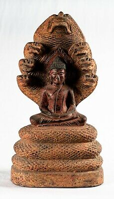 Antique Khmer Style Wood Meditating Naga Buddha Statue - 36cm/14""