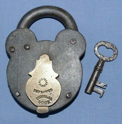 Large Antique English Victorian Padlock & Key - 19th Cent Improved Tumbler Lock