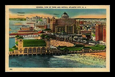 Us Linen Postcard General View Of Many Piers And Hotels Atlantic City New Jersey