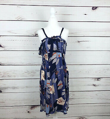 Eloise By Anthropologie Blue Lily Pattern Floral Midi Dress Womens Size Medium
