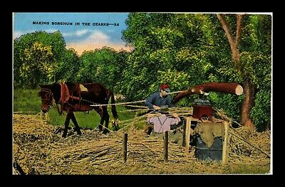 Us Linen Postcard Making Sorghum In The Ozarks Historic Agriculture Methods