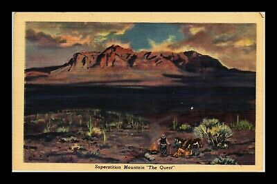 Us Linen Postcard Superstition Mountain In The Distance Man With Donkeys