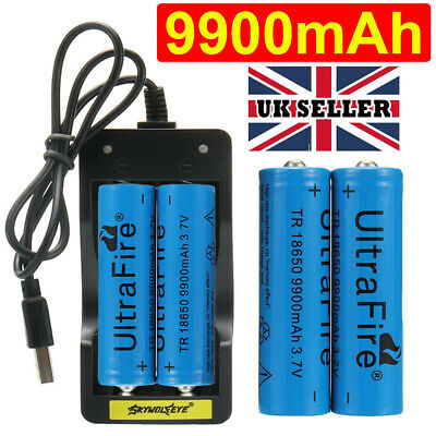 4PC 18650 9900mAh Battery 3.7v Li-ion Rechargeable Batteries + 2 slot Charger UK