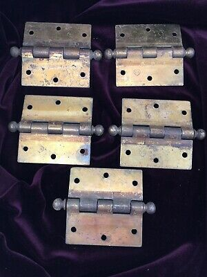 Lot 5 SW Stanley Sweetheart Mortise Door 3 1/2 Butt Hinge CannonBall Brass Plate