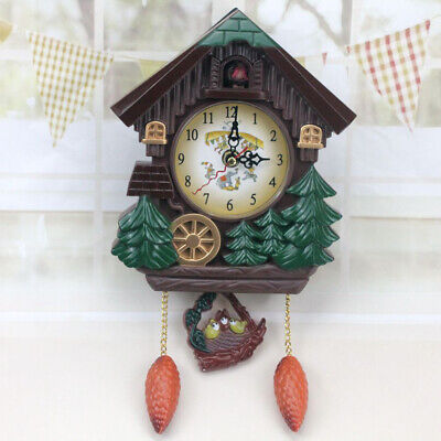 1pc Cuckoo Wall Decorative Wood Clock Hanging Display House Shaped Black Forest