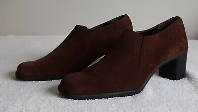 M&S Footglove Wide Fit Brown Suede Shoes Size 6.5