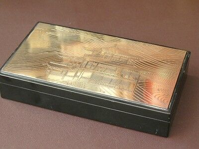 Vintage Chinese Black Lacquered Wood Box With Engraved Brass Lid