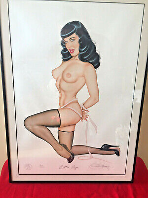 Olivia De Berardinis Bettie Page Lithograph/Pretty Peepers/dual signed/numbered