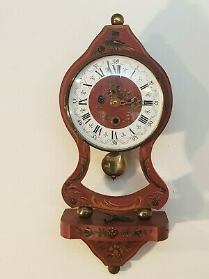 Vintage NUFA Dutch Hindeloopen Wall Clock (Rose color from 1950)
