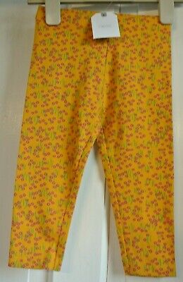 New Next girls cotton rich leggings Mustard/floral 2-3 years