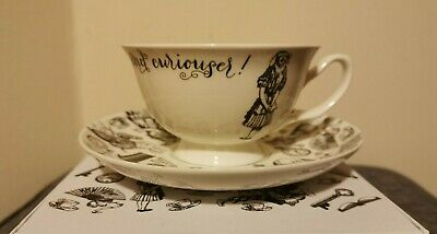 Victoria & Albert Alice in Wonderland Cup And Saucer, White Tea Cup & Saucer NEW