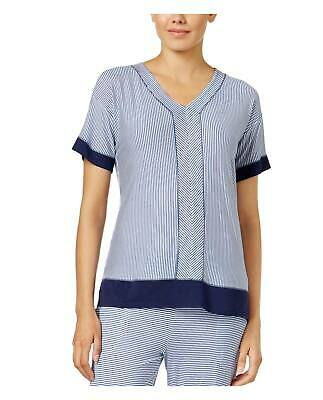 DKNY Womens Blue Contrast Trimmed Striped Printed Jersey Pajama Top Medium M