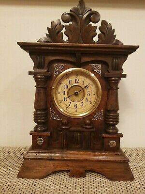 Antique Musical Junghans Wooden Mantle clock with Brass Ornaments from 1900