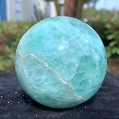 544g Natural Beautiful Green Fluorite Quartz Crystal Sphere ball Healing