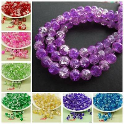 4/6/8/10mm Cracked Round Crystal Glass Loose Spacer Beads Craft Jewelry Making