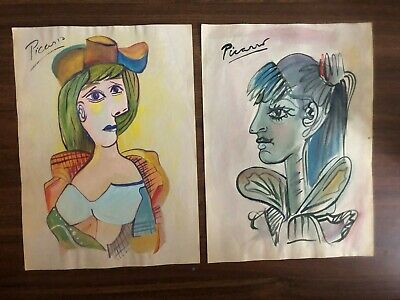 Vintage Lot 2 Pablo Picasso Paper SIgned in Watercolor