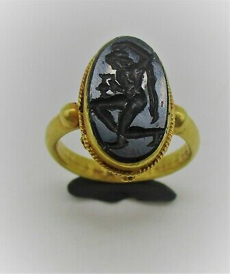 Rare Ancient Roman High Carat Gold Ring With Carnelian Intaglio God Depiction